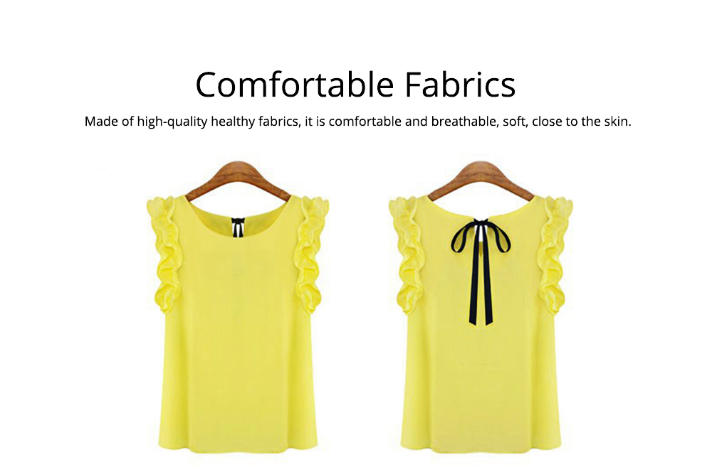Summer Women Casual Chiffon Blouses Bow Lace Solid Sleeveless Office Lady Shirts Women Tops Cheap Clothes Plus Size For Female 1