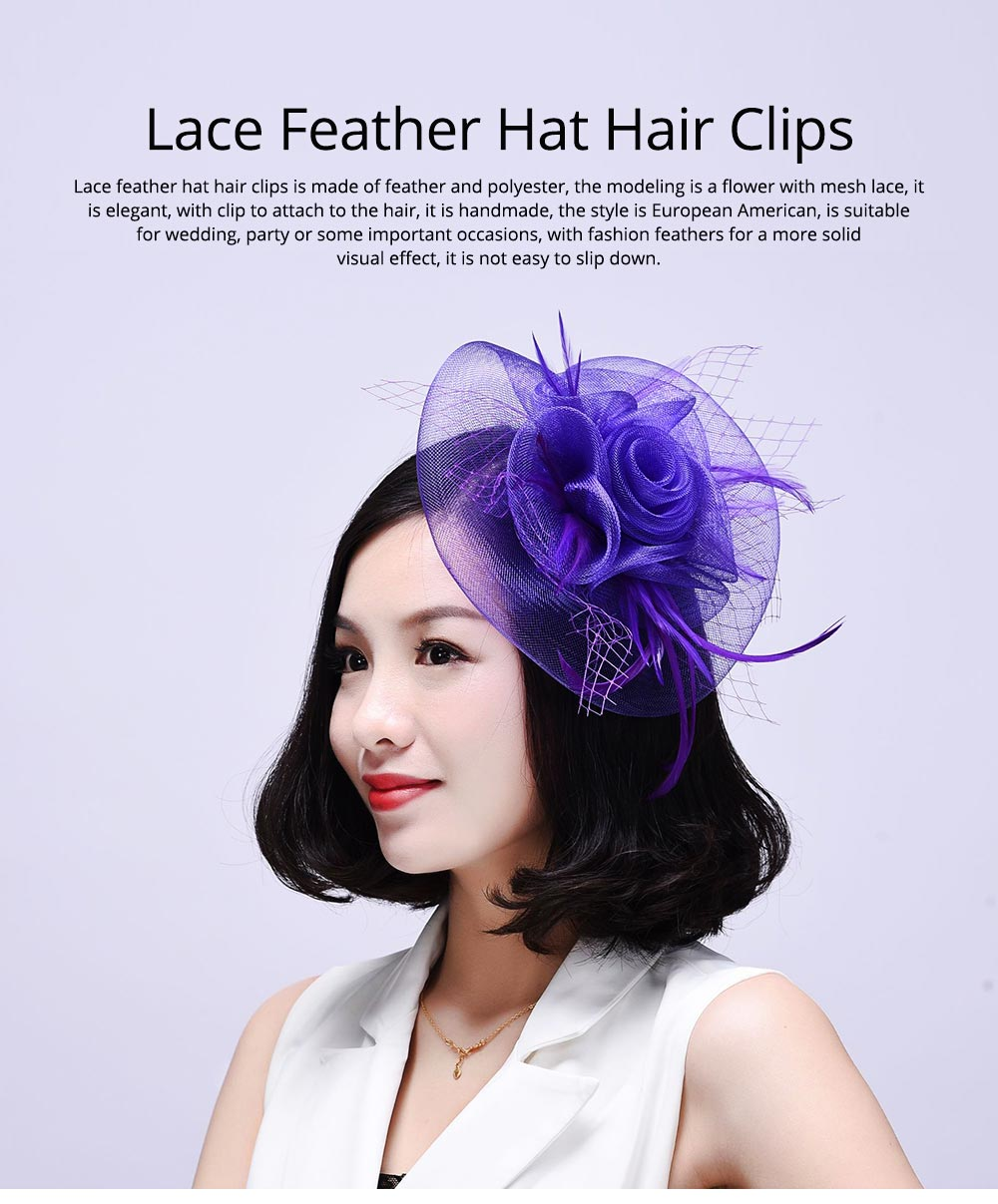 Elegant Mini Bridal Mesh Lace Feather Decoration Hat Hair Clips Wedding Party Hair Accessory 0