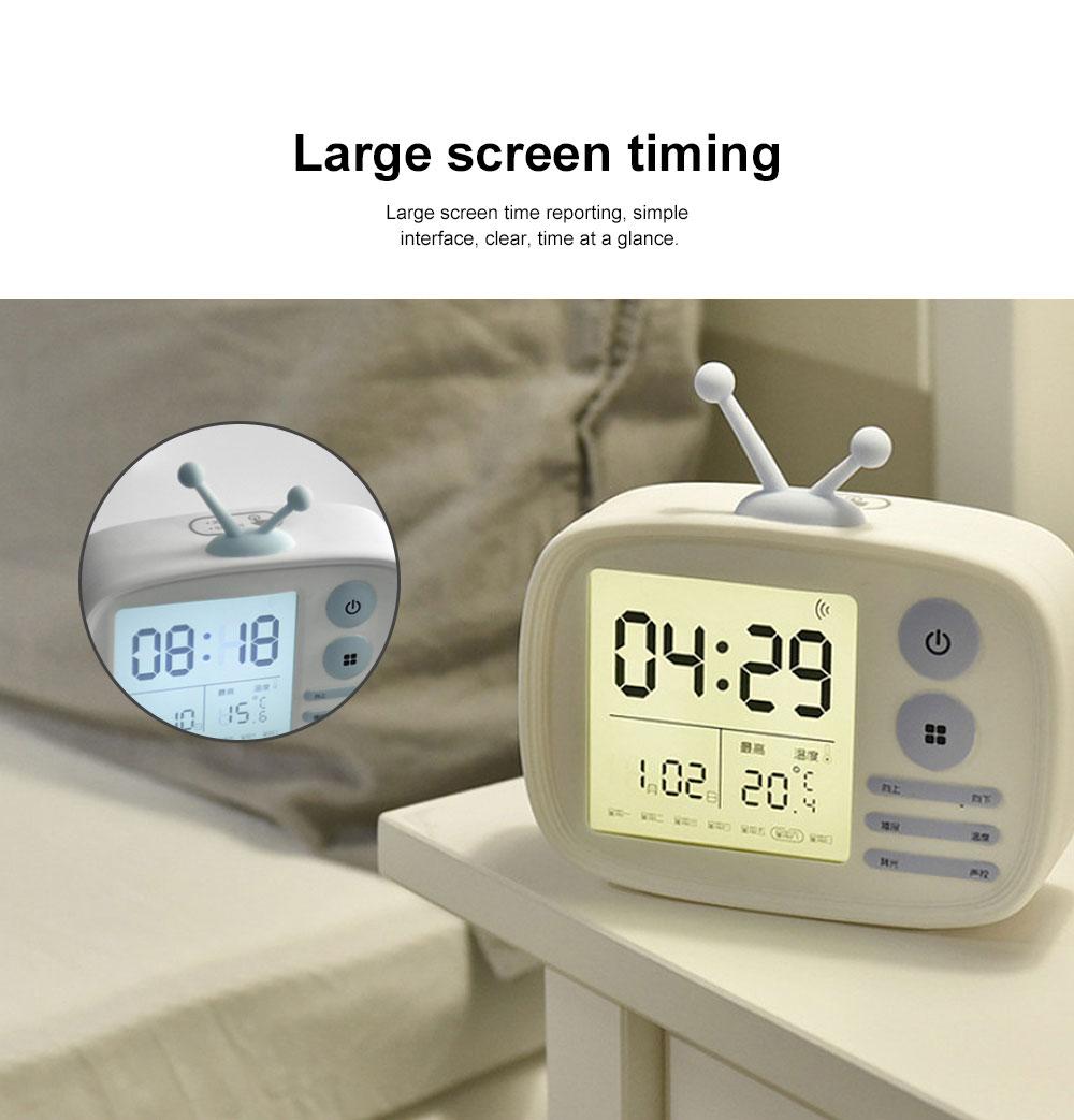 Retro TV Modeling Alarm Clock, Creative Cartoon Voice Charging Electronic Clock for Student Dormitories, Night-light Children's Bedside Alarm Clock 2