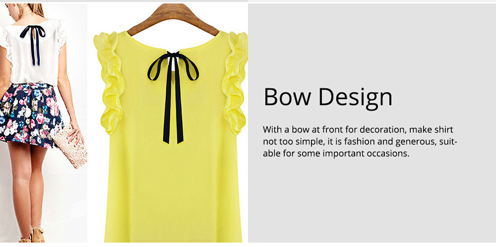 Summer Women Casual Chiffon Blouses Bow Lace Solid Sleeveless Office Lady Shirts Women Tops Cheap Clothes Plus Size For Female 5