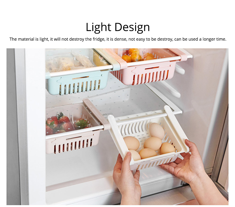 Household Daily Use PP Drawer Fridge Box Refrigerator Storage Lock Vegetable Fruit Asphalt Shelf 4