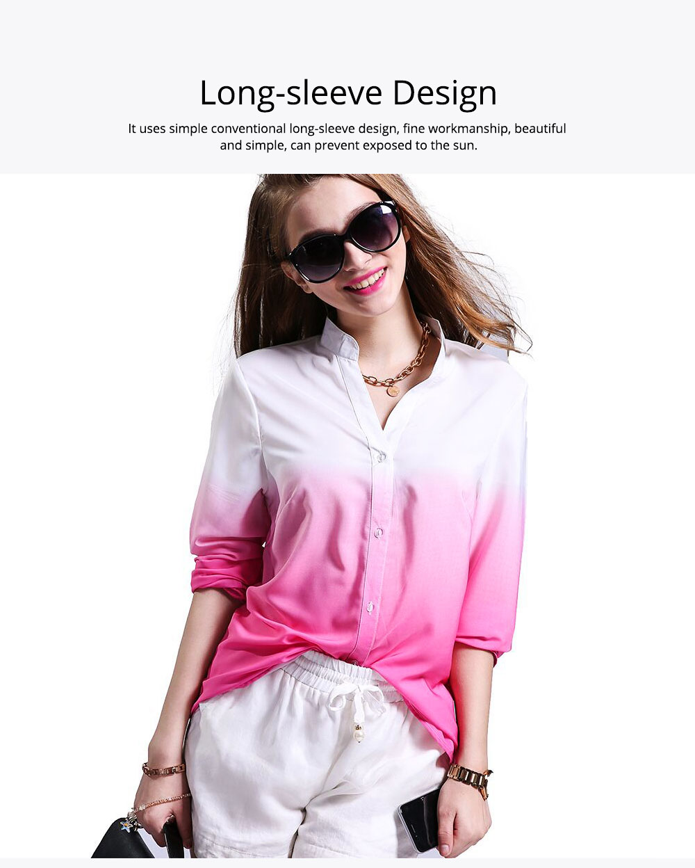2019 HOT Popular Lady Blouse Sexy V Collar Long-sleeved Women's Chiffon Gradient Pink Shirt For Lady Women 4