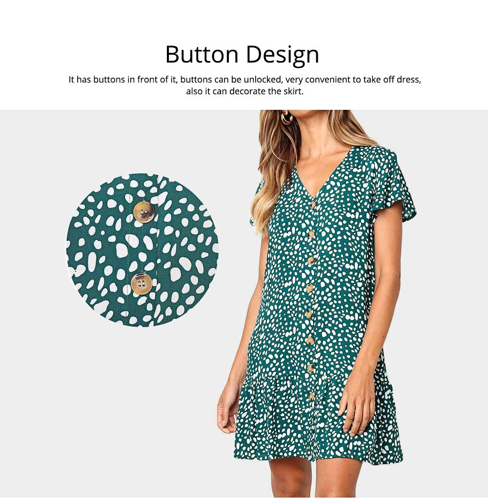 Summer Dot Print Dress Fashion V Neck Button Chiffon Casual Short Sleeve Women Sundress Mini Party Ladies Loose Ruffled Skirt 2