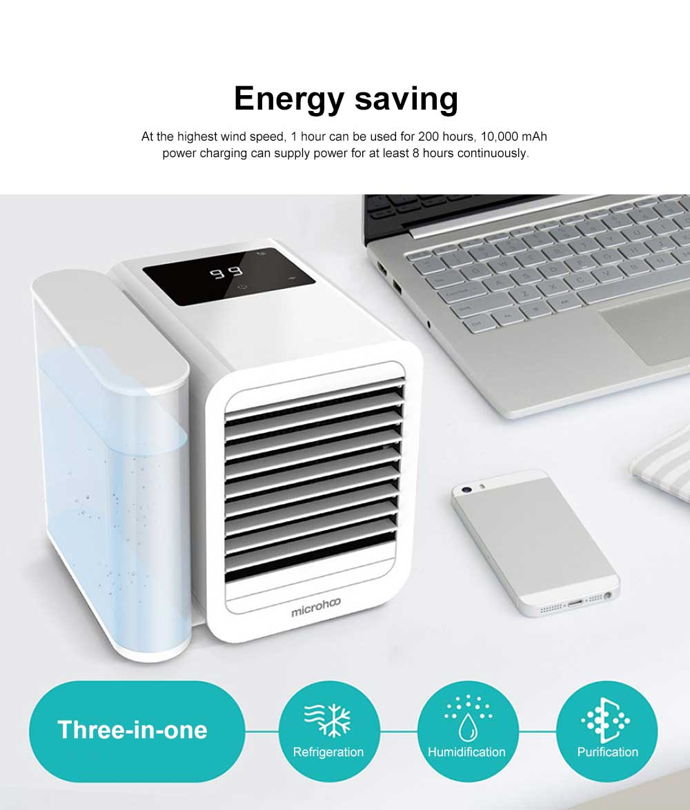 Tinkleo Small Household Desktop Air-cooler Fan Portable Three-in-one Mini Air Cooler Conditioning Fan 99 Wind Gear 1 Liter Water Tank Cool To 13 Degrees 1