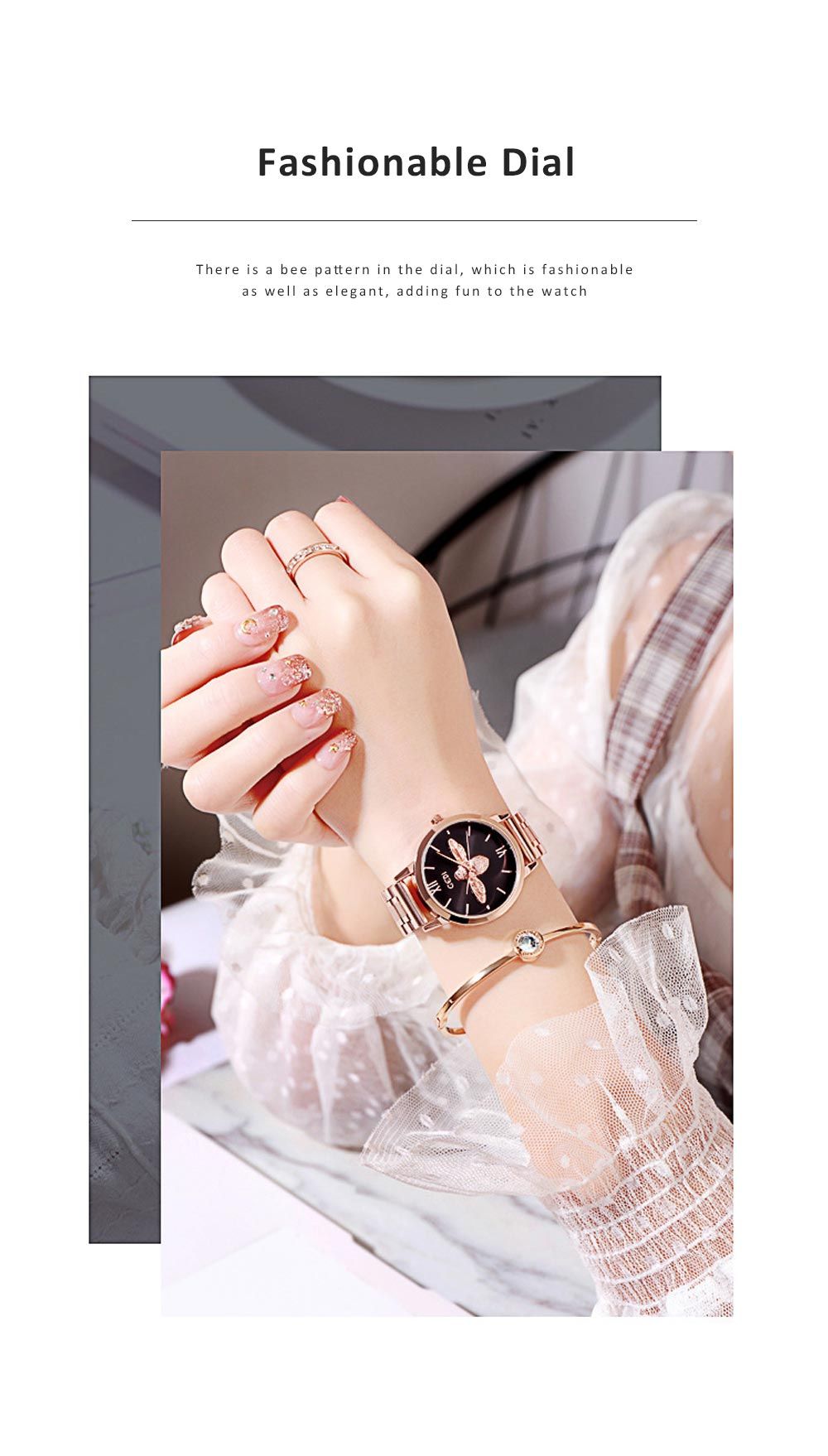 Trendy Bee Pattern Quartz Watch with Stainless Steel Mesh Band Elegant Style for Women 1
