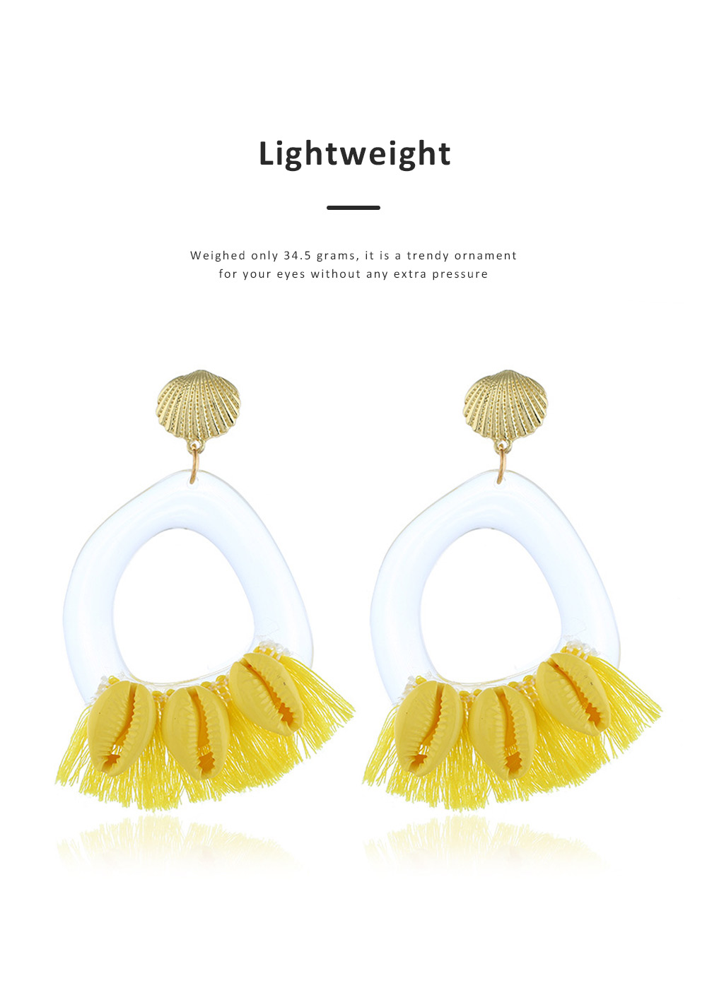 Stylish Boho Earring Natural Style Tassel Shell Accessory Attractive Dangle Earrings for Women Girls 4