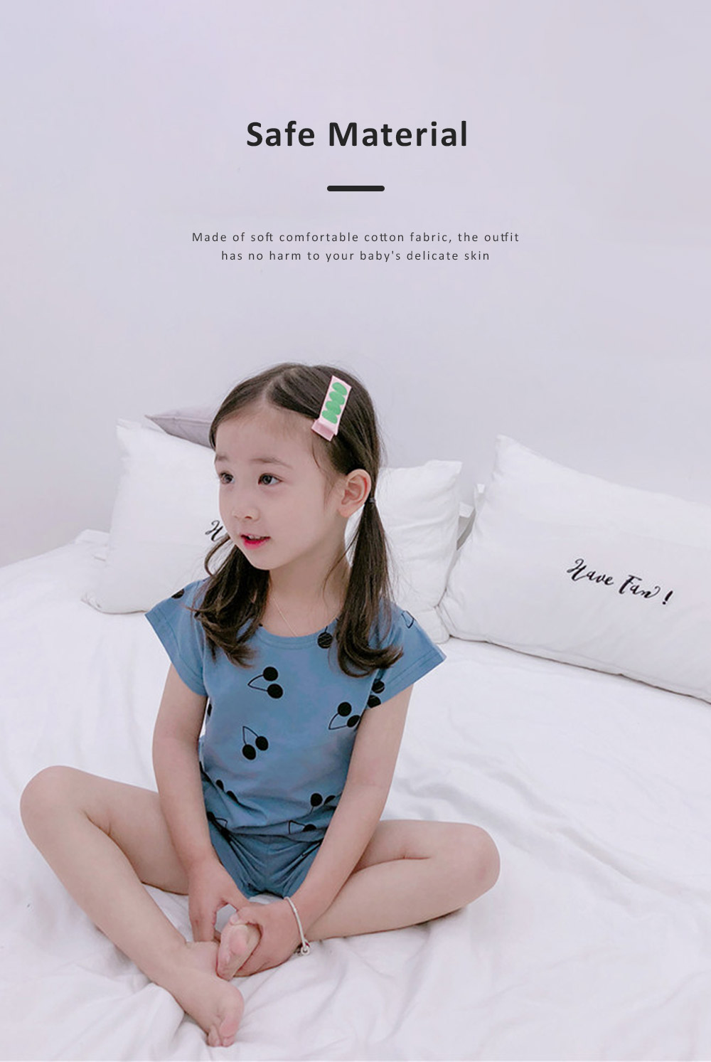 Comfortable Home Clothes Cherry Pattern Short Sleeve Tops Shirts and Shorts Outfits for Kids Girl Boy 4