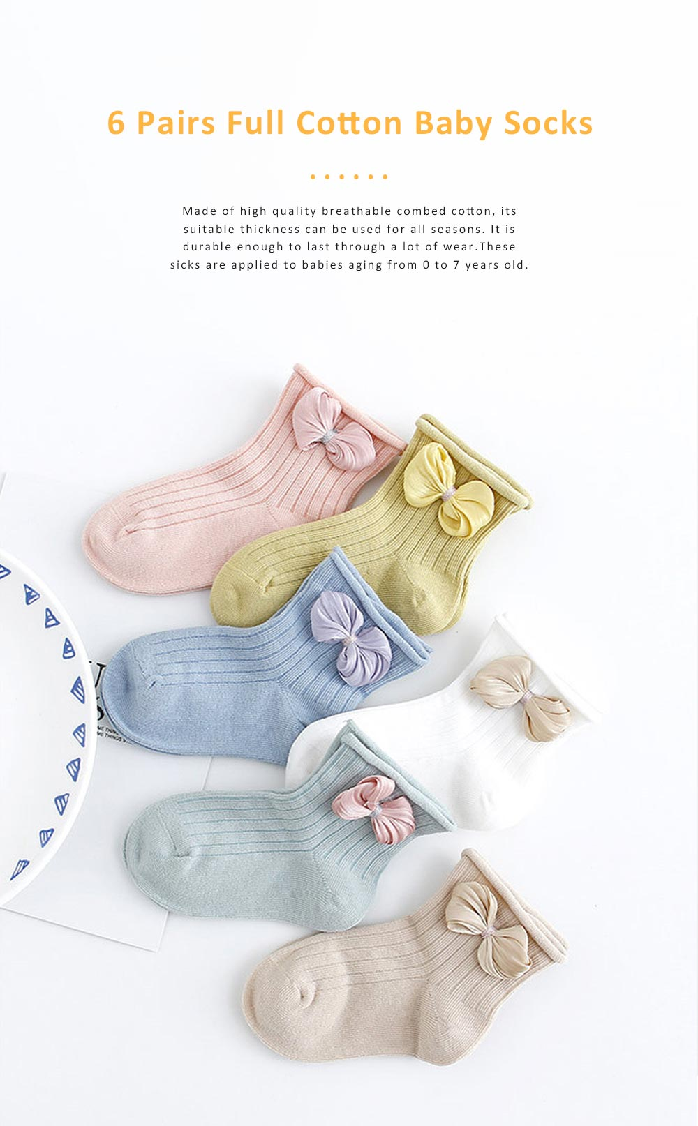 Cute Baby Socks Soft and Comfortable Combed Cotton Bowknot Socking for Girl Baby Clothes Match 0
