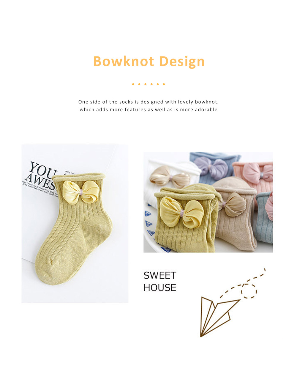 Cute Baby Socks Soft and Comfortable Combed Cotton Bowknot Socking for Girl Baby Clothes Match 1