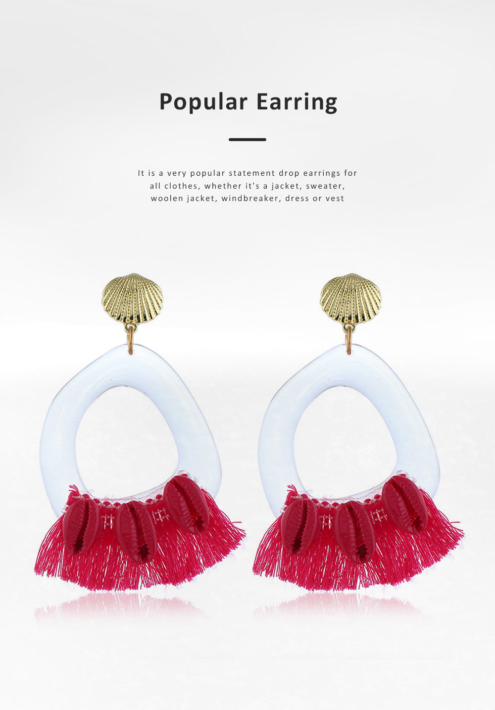 Stylish Boho Earring Natural Style Tassel Shell Accessory Attractive Dangle Earrings for Women Girls 5
