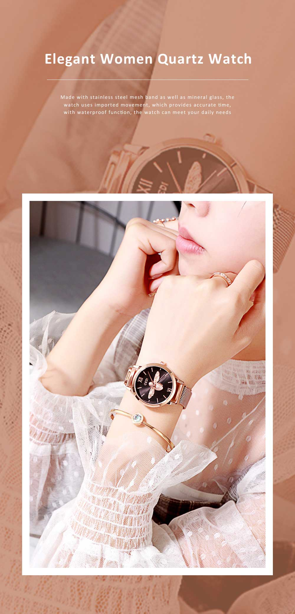 Trendy Bee Pattern Quartz Watch with Stainless Steel Mesh Band Elegant Style for Women 0