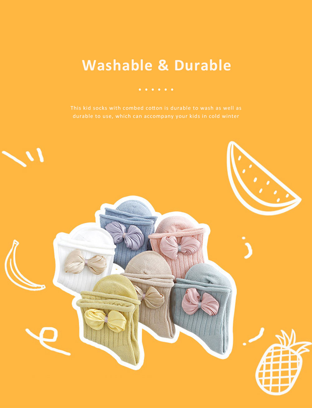 Cute Baby Socks Soft and Comfortable Combed Cotton Bowknot Socking for Girl Baby Clothes Match 4