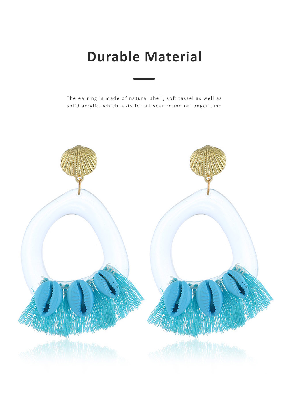Stylish Boho Earring Natural Style Tassel Shell Accessory Attractive Dangle Earrings for Women Girls 1