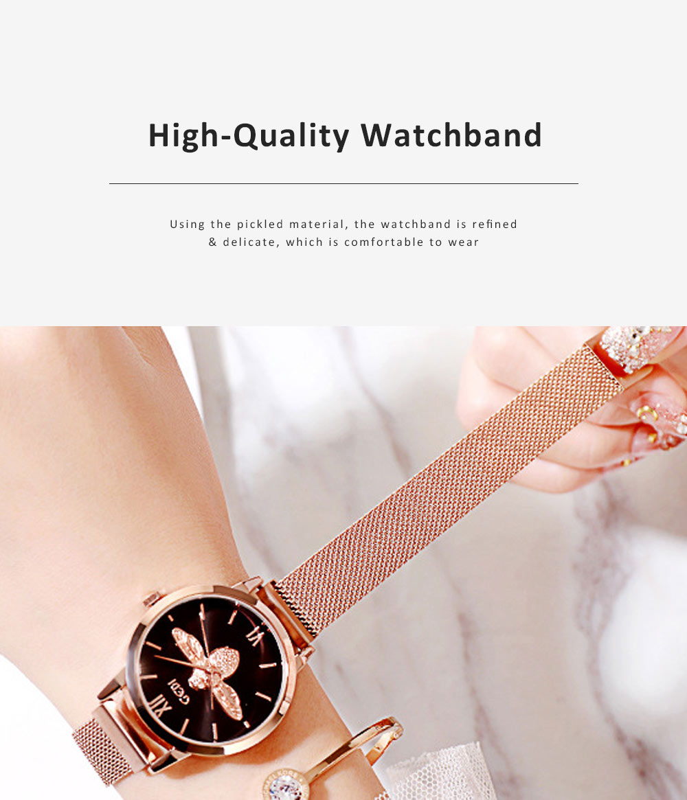 Trendy Bee Pattern Quartz Watch with Stainless Steel Mesh Band Elegant Style for Women 4