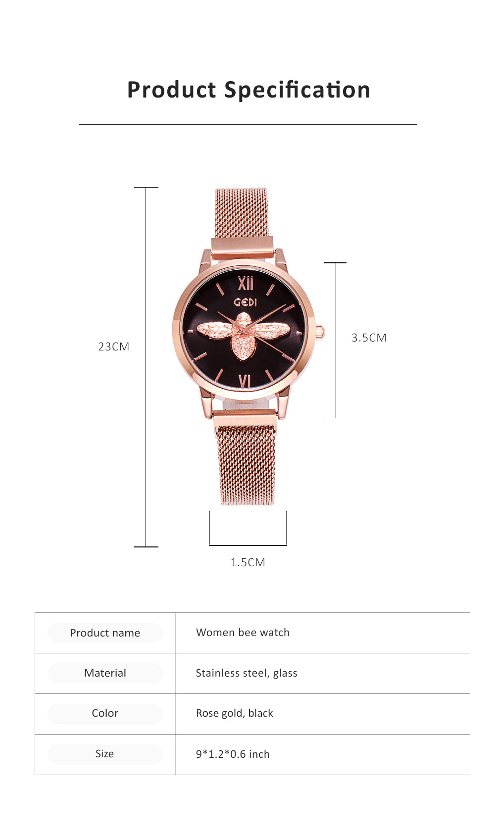 Trendy Bee Pattern Quartz Watch with Stainless Steel Mesh Band Elegant Style for Women 6