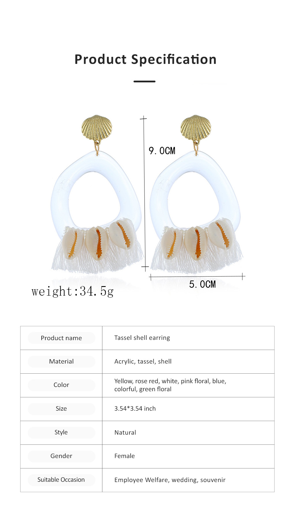 Stylish Boho Earring Natural Style Tassel Shell Accessory Attractive Dangle Earrings for Women Girls 6