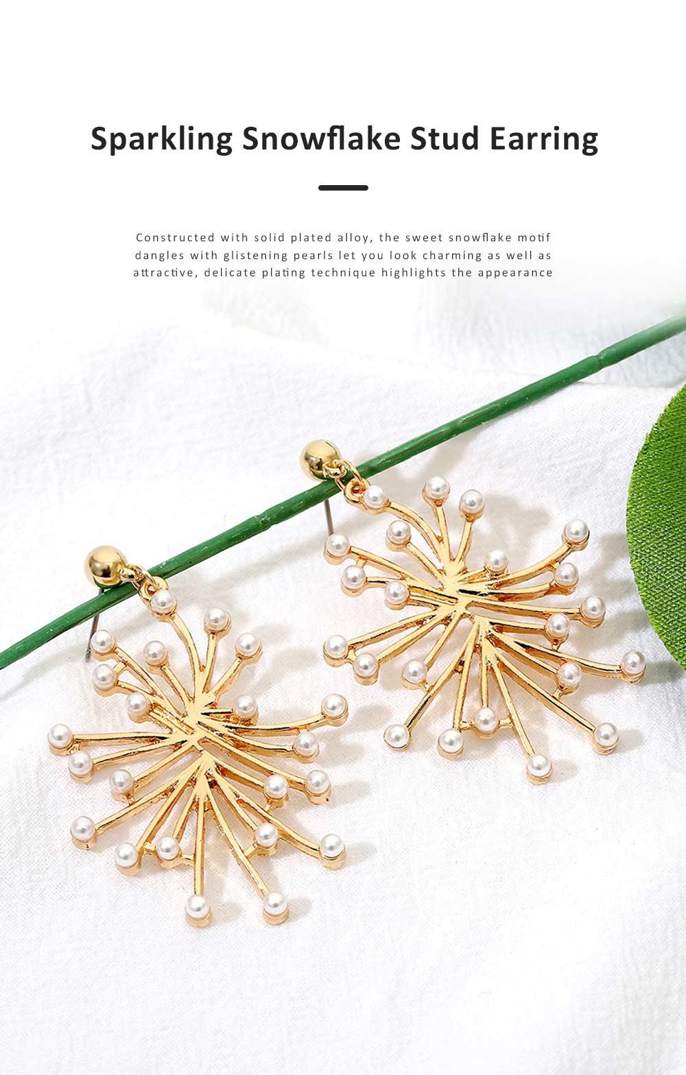 Trendy Alloy Snowflake Earrings Beautiful Ear Decoration Sparkling Stud Earring for Women Girls 0