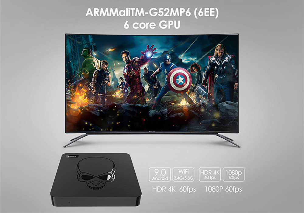 Beelink GT King Android 9.0 TV Box S922X 4GB RAM 64GB ROM Support 2.4G Voice Remote Control 2.4G 5.8G WiFi Bluetooth 4.1 4K 60fps Smart TV-box 2