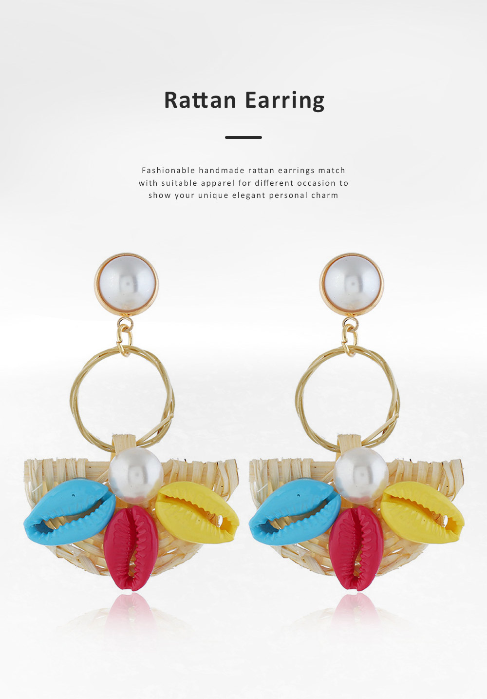 Natural Ocean Style Earring Colorful Outfit Accessory Jewelry Shell Rattan Pearl Earring for Women Girls 5