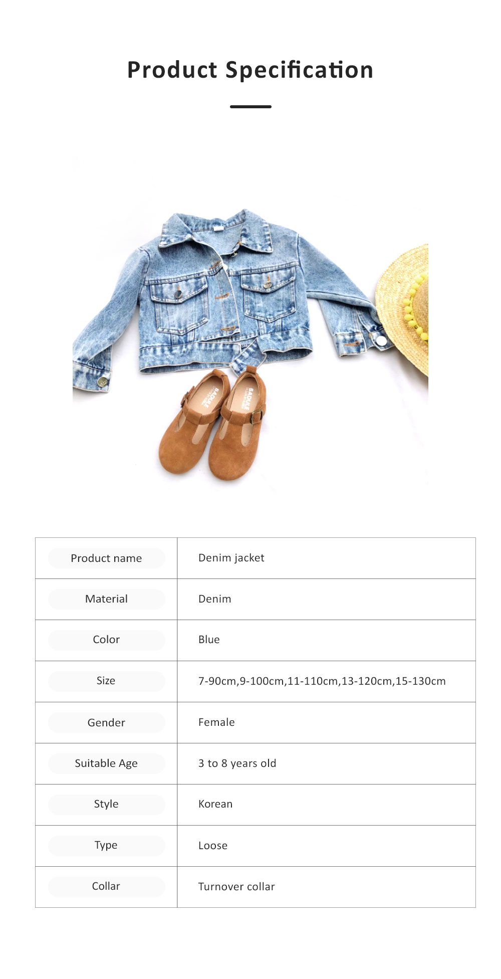 Classic style Denim Jacket Long Sleeve Clothes Fashionable Children Garment with Two Pockets for Girls 6