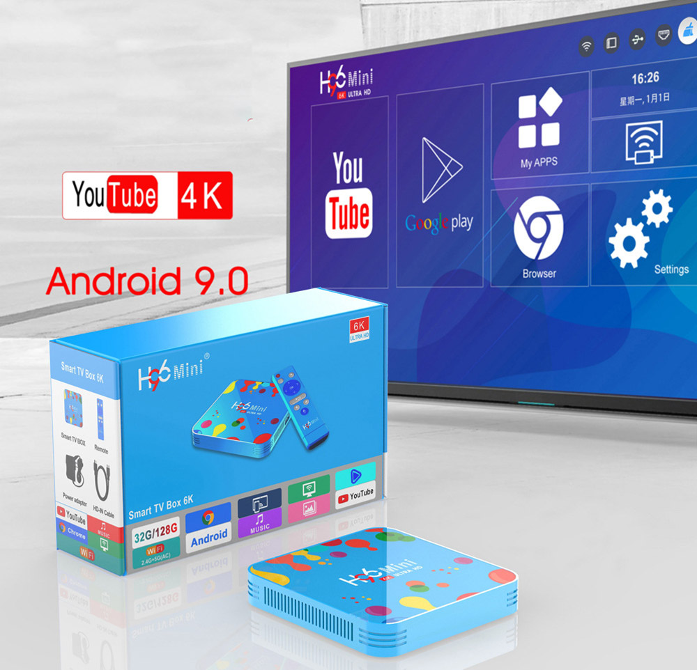 H96 Mini H6 Smart TV Box Android 9.0 4GB 128GB Media Player Bluetooth 4.0 Support 2.4G 5G WiFi 4K HD HDMI Google Player YouTube 0