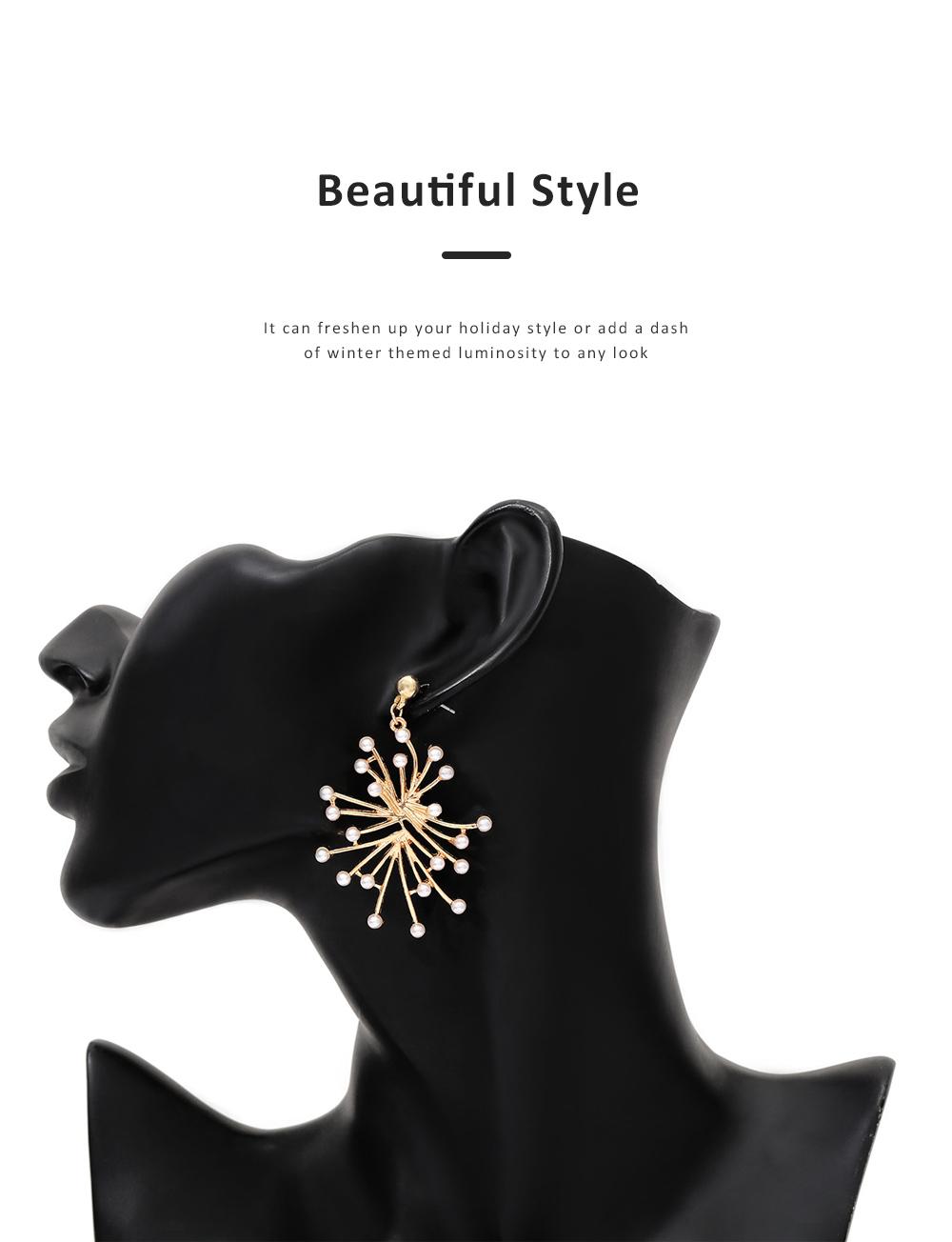 Trendy Alloy Snowflake Earrings Beautiful Ear Decoration Sparkling Stud Earring for Women Girls 5