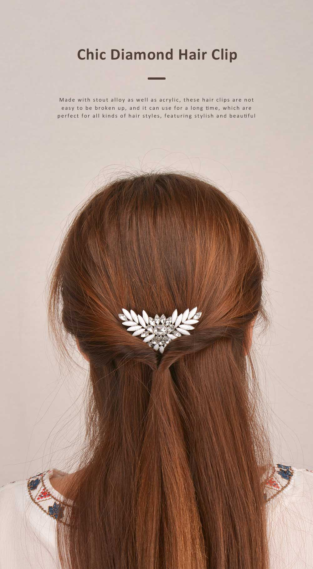 Chic Diamond Alloy Hair Clip Stylish Hair Pin for Women Girls Suitable for Different Hair Styles 0