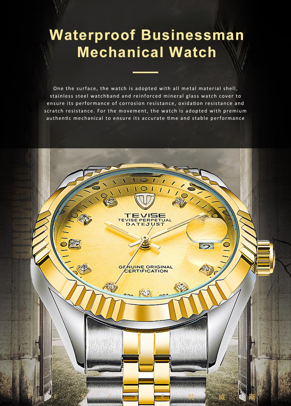 Waterproof Businessman Mechanical Watch with Calendar All Automatic Mechanical Men's Wrist Watch 2019 0