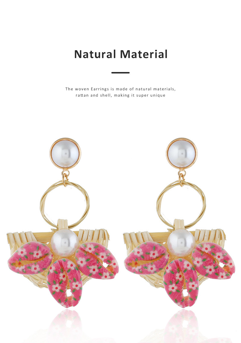 Natural Ocean Style Earring Colorful Outfit Accessory Jewelry Shell Rattan Pearl Earring for Women Girls 1