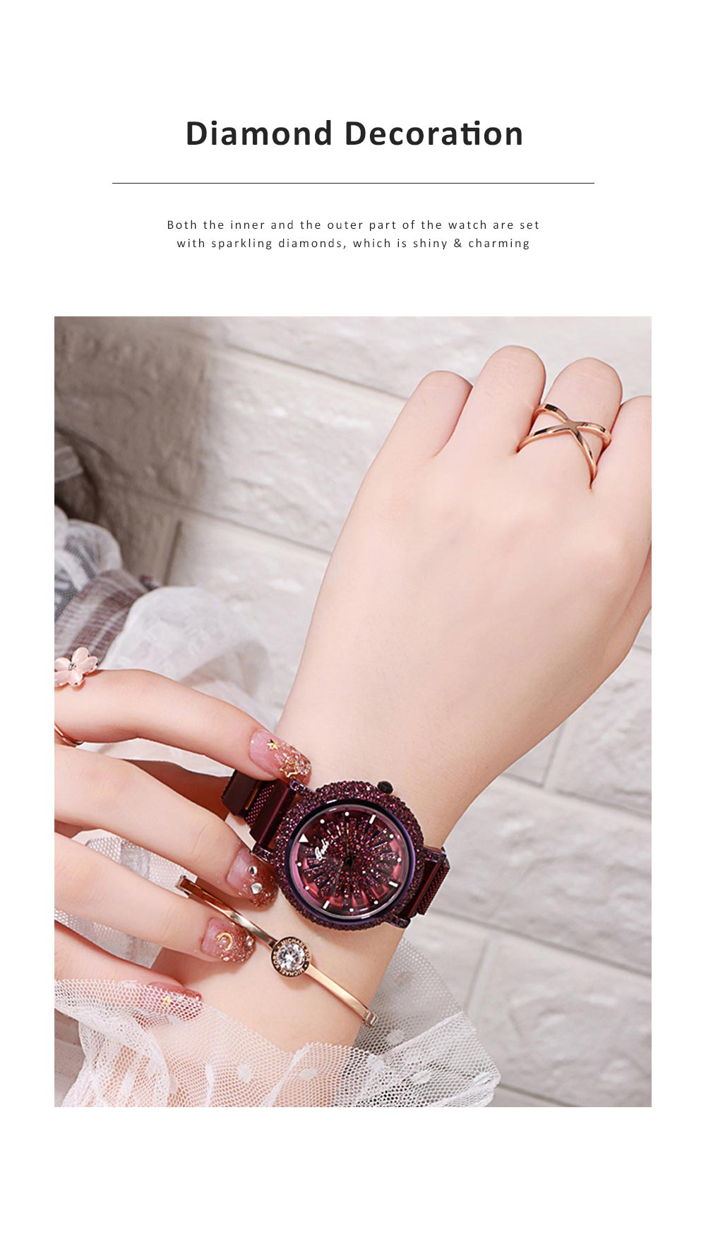 Stylish Quartz Watch with Large Glass Dial Diamond Mounted Watch 360 Degree Rotation Milanese Mesh Strap Wristwatch for Women 1