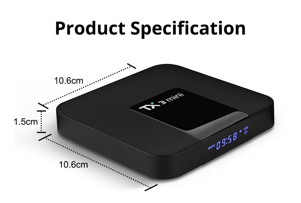 TX3 Mini S905W Android TV Box Smart IPTV Media Player 4K 7.1 Android H2.65 TX3 Mini TV Box 2G 16GB 9