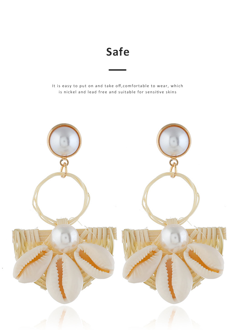 Natural Ocean Style Earring Colorful Outfit Accessory Jewelry Shell Rattan Pearl Earring for Women Girls 4