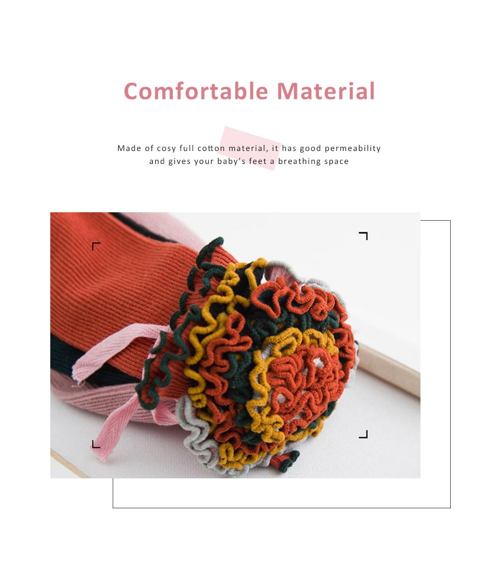 Korean Style Knee High Socks Cute Bowknot Cotton Knit Dress Socks Ruffled Shape Baby Stocking for Girls 3