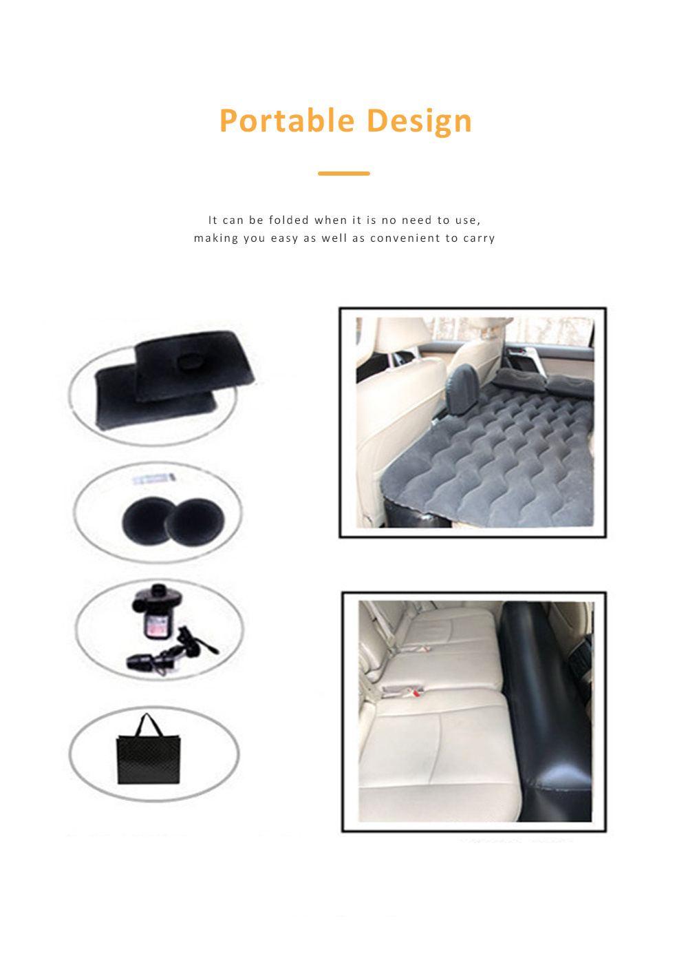 Upgraded Car Travel Inflatable Air Mattress Back Seat Portable Camping Bed Cushion with Back Support 5