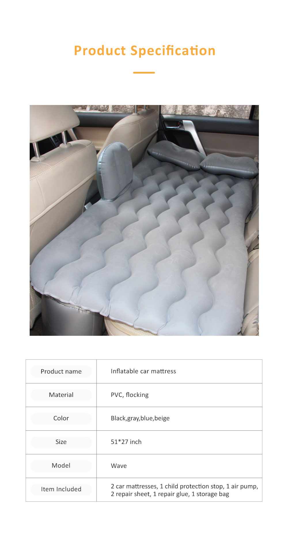 Upgraded Car Travel Inflatable Air Mattress Back Seat Portable Camping Bed Cushion with Back Support 7