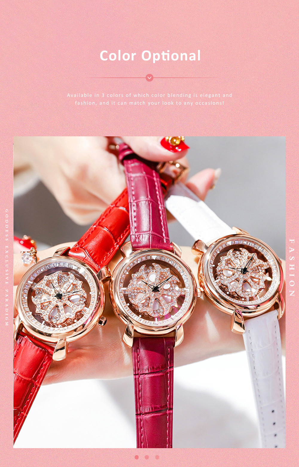 Diamond-encrusted Hollow-out Rotation Watch for Ladies Waterproof Japanese Quartz Movement Wrist Watch 4