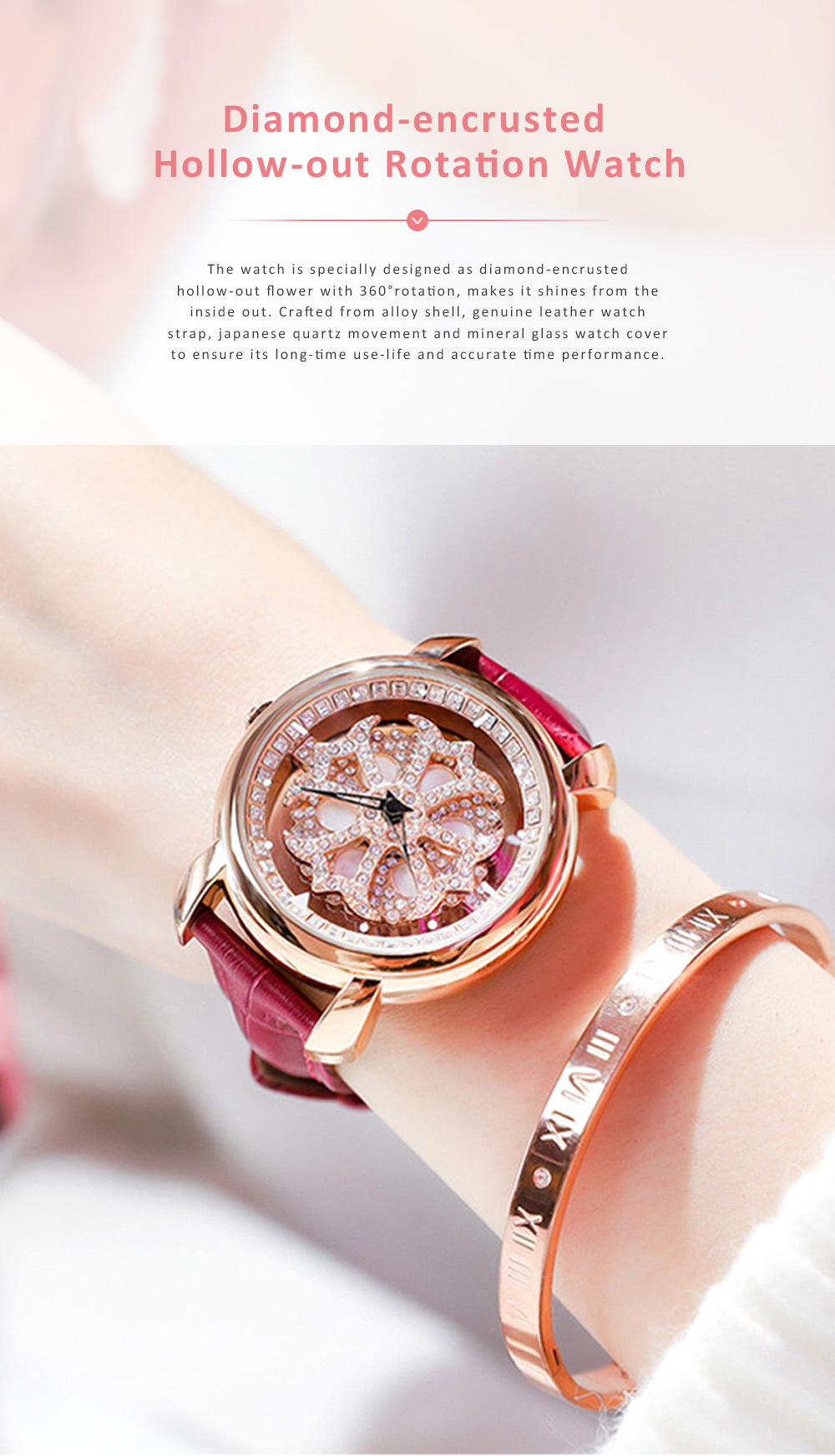 Diamond-encrusted Hollow-out Rotation Watch for Ladies Waterproof Japanese Quartz Movement Wrist Watch 0