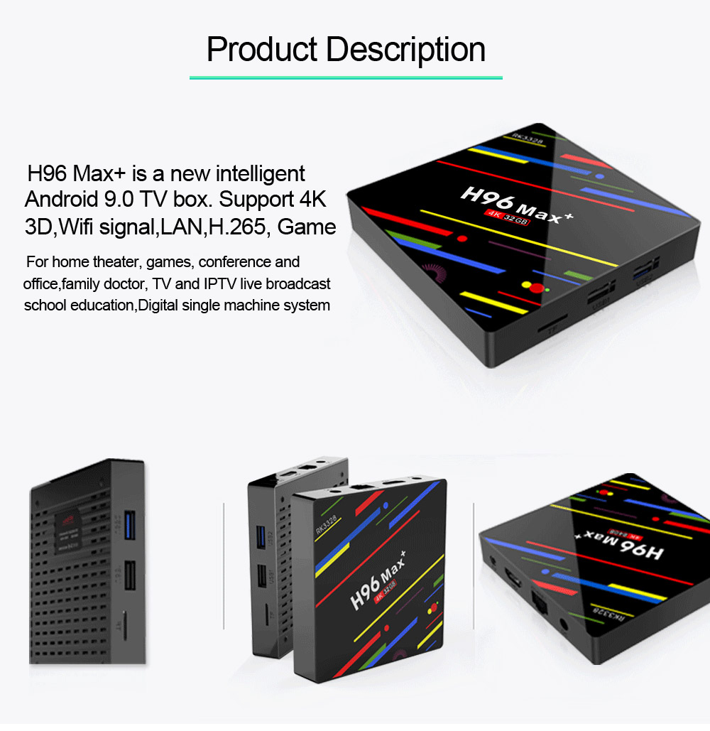 Tinkleo H96 MAX Plus Newest Android 9.0 TV Box 4GB+32GB Smart Android Box H96 MAX+ RK3328 2