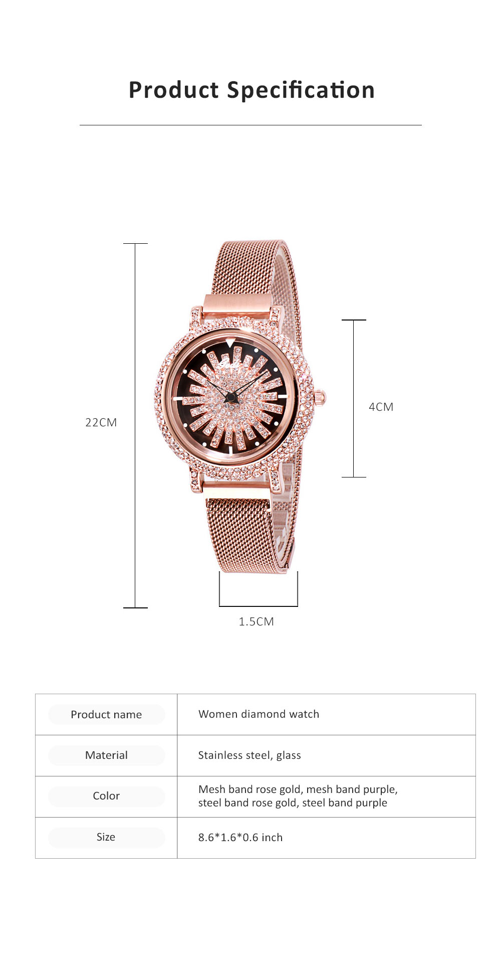 Stylish Quartz Watch with Large Glass Dial Diamond Mounted Watch 360 Degree Rotation Milanese Mesh Strap Wristwatch for Women 6