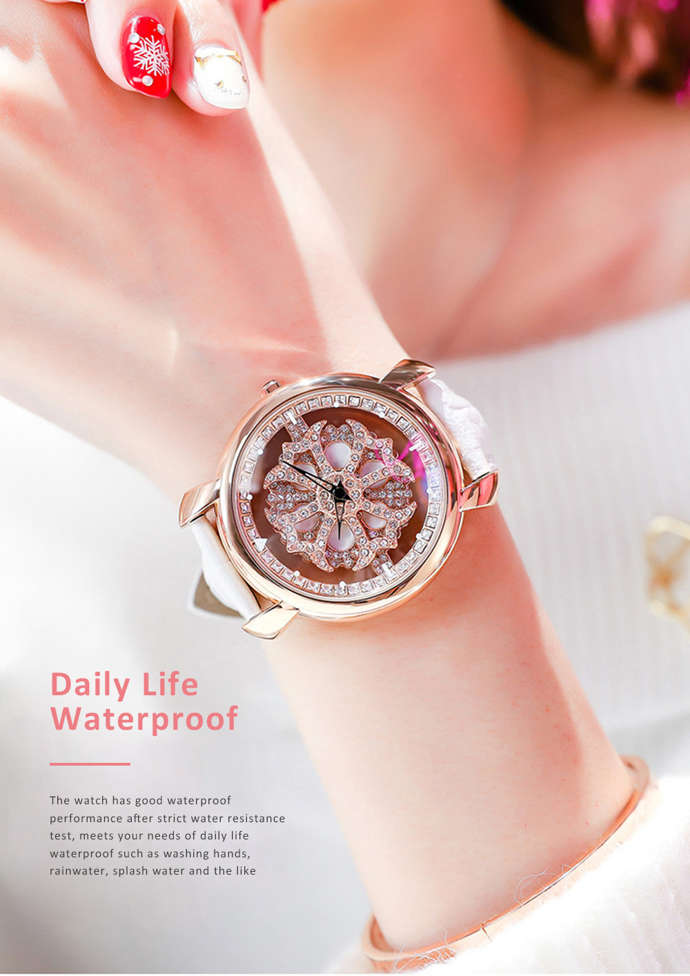 Diamond-encrusted Hollow-out Rotation Watch for Ladies Waterproof Japanese Quartz Movement Wrist Watch 2