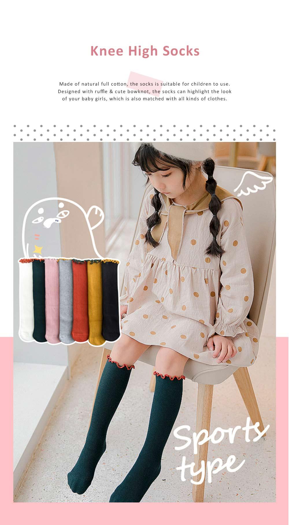 Korean Style Knee High Socks Cute Bowknot Cotton Knit Dress Socks Ruffled Shape Baby Stocking for Girls 0