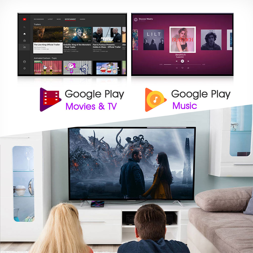 H96 MAX 9.0 Android TV Box 2GB 16GB RK3318 Support USB 3.0 2.4G 5G WiFi Bluetooth 4K Google Voice Assistant Netflix Youtube 2