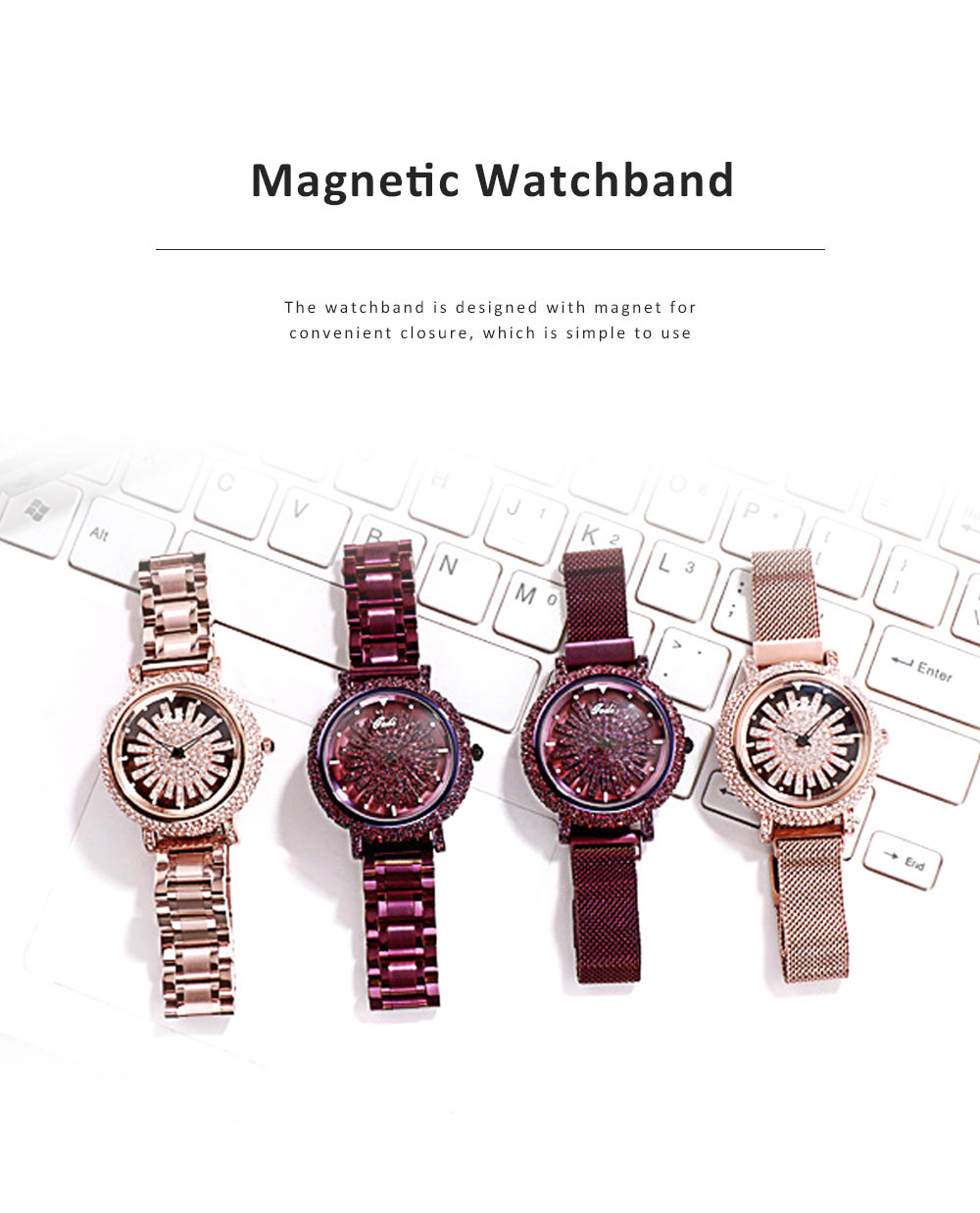 Stylish Quartz Watch with Large Glass Dial Diamond Mounted Watch 360 Degree Rotation Milanese Mesh Strap Wristwatch for Women 3