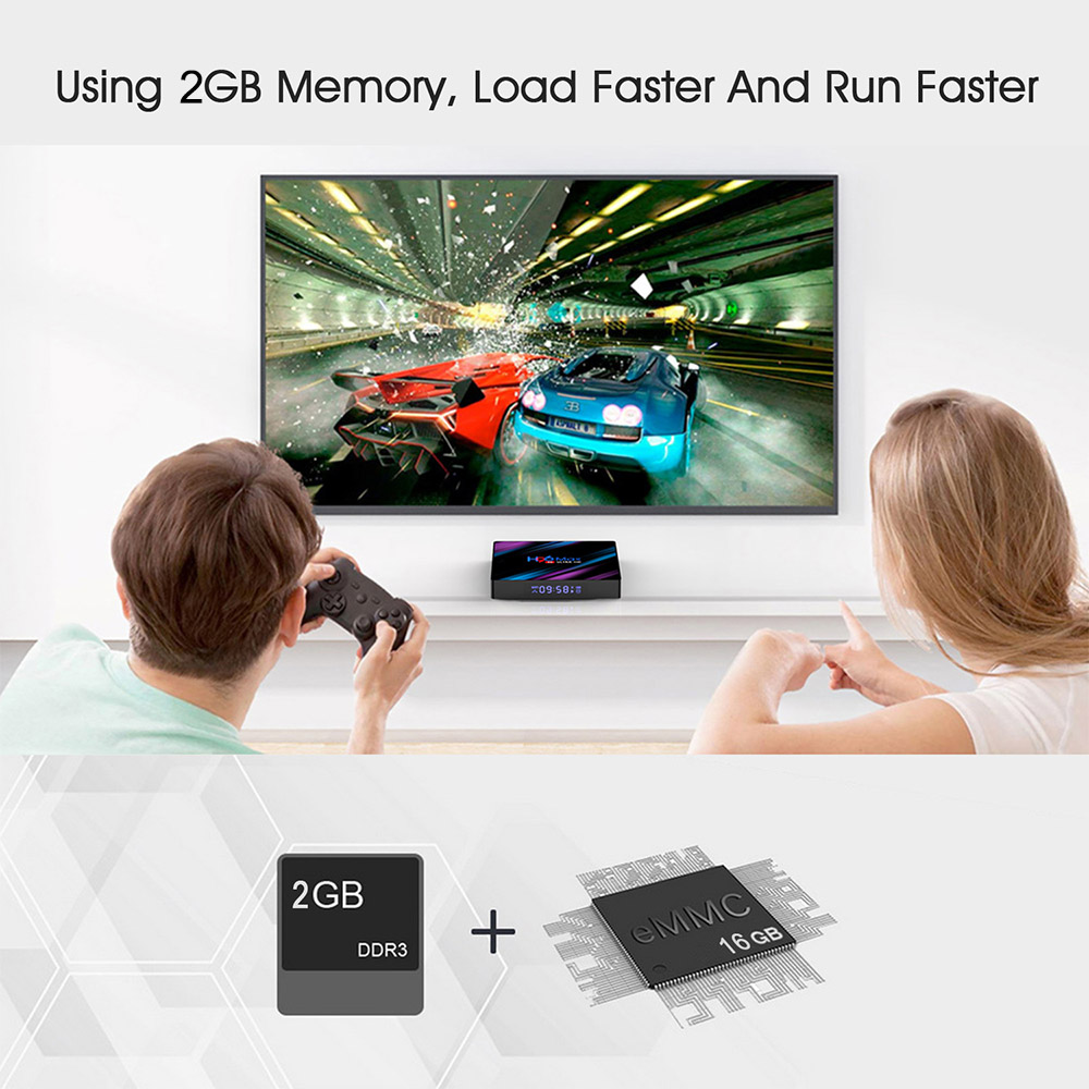 H96 MAX 9.0 Android TV Box 2GB 16GB RK3318 Support USB 3.0 2.4G 5G WiFi Bluetooth 4K Google Voice Assistant Netflix Youtube 3