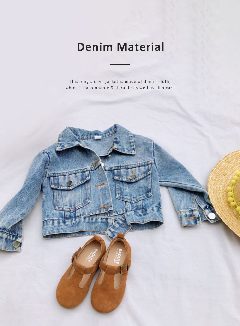 Classic style Denim Jacket Long Sleeve Clothes Fashionable Children Garment with Two Pockets for Girls 2