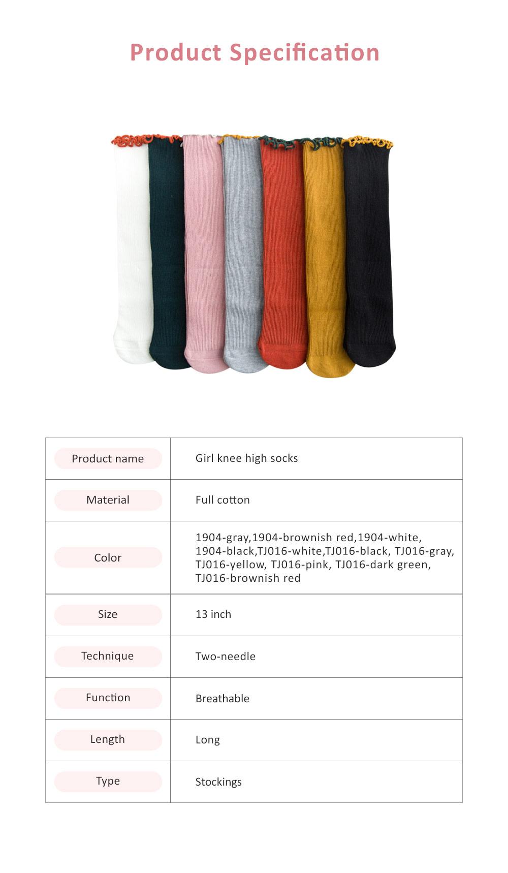Korean Style Knee High Socks Cute Bowknot Cotton Knit Dress Socks Ruffled Shape Baby Stocking for Girls 7