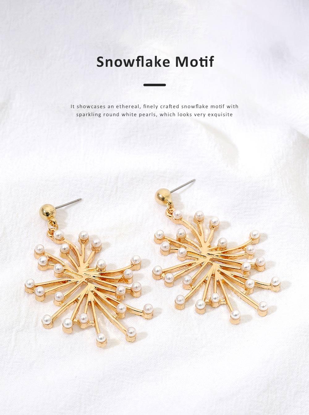 Trendy Alloy Snowflake Earrings Beautiful Ear Decoration Sparkling Stud Earring for Women Girls 3