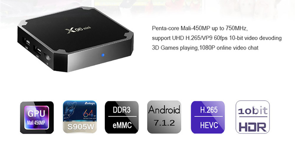 X96 Mini Android TV Box S905W Quad Core 2G 16G Smart Set Top Box 4K H.265 Media Player 1