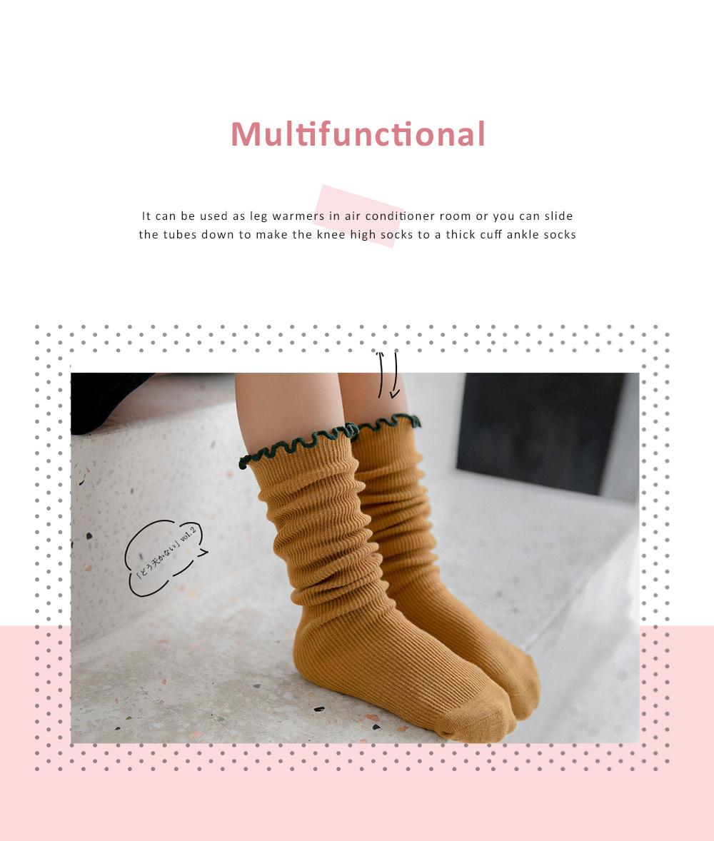 Korean Style Knee High Socks Cute Bowknot Cotton Knit Dress Socks Ruffled Shape Baby Stocking for Girls 5