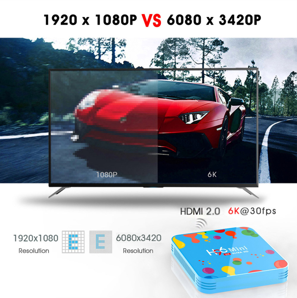 H96 Mini H6 Smart TV Box Android 9.0 4GB 128GB Media Player Bluetooth 4.0 Support 2.4G 5G WiFi 4K HD HDMI Google Player YouTube 7